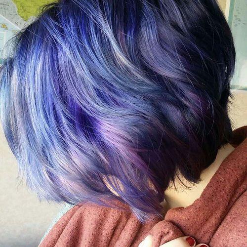 short layered lavender hair