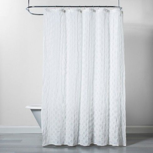 Dots Pattern Opaque Shower Curtain White Project 62 Yellow