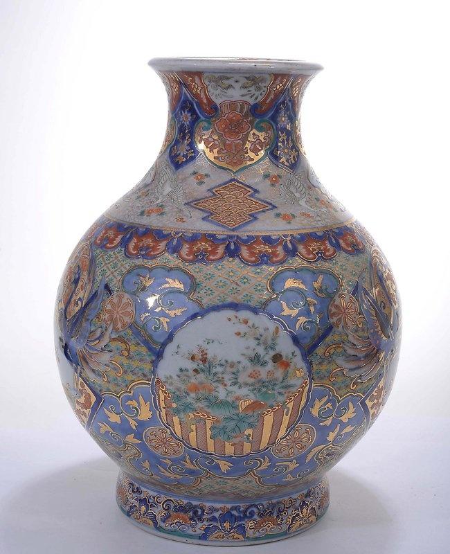 Japanese imari porcelain vase koi fish crane imari for Koi fish vase