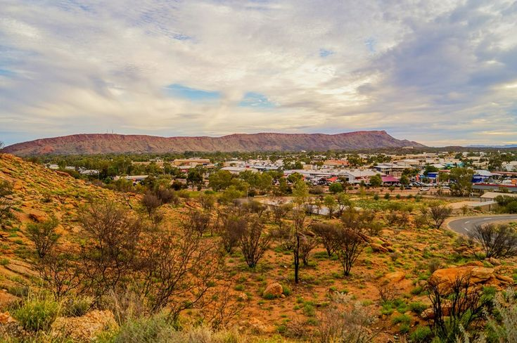 View over the town and the MacDonnell Ranges from Anzac Hill Lookout in Alice Springs