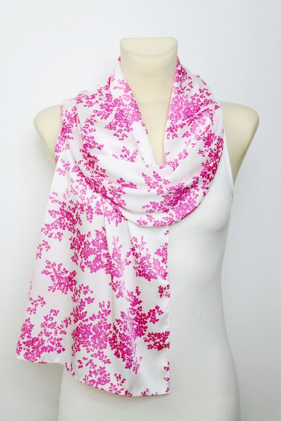 White & Pink Floral Scarf - Fashion Scarf - Fabric Scarf - Women Shawl - Unique Scarf - Printed Scarf - Original Scarf - Boho Scarf