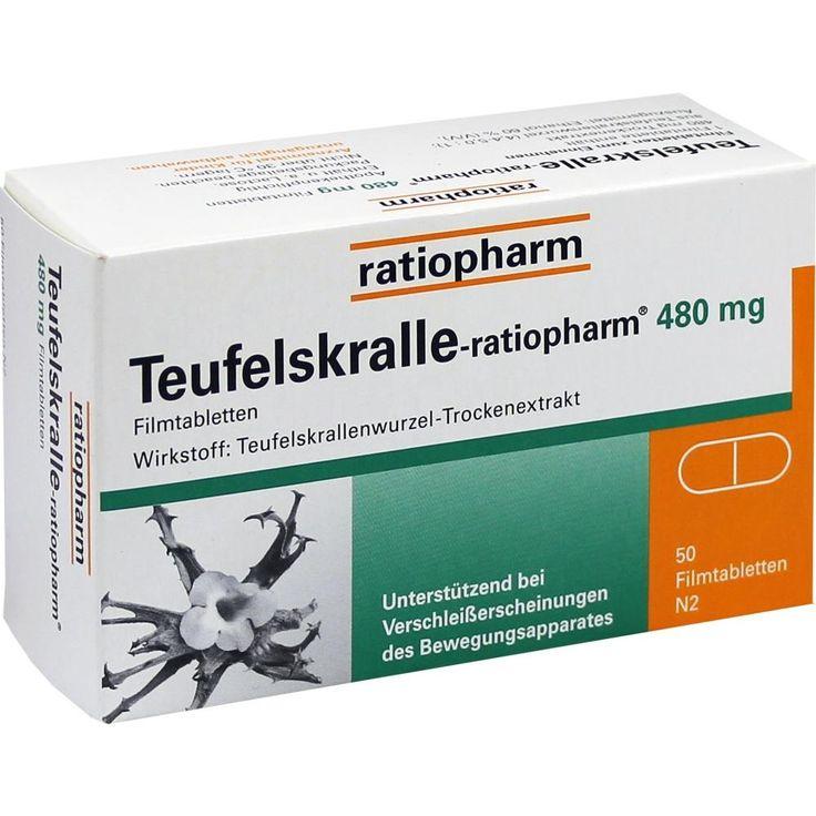 TEUFELSKRALLE ratiopharm Filmtabletten:   Packungsinhalt: 50 St Filmtabletten PZN: 02940724 Hersteller: ratiopharm GmbH Preis: 8,42 EUR…