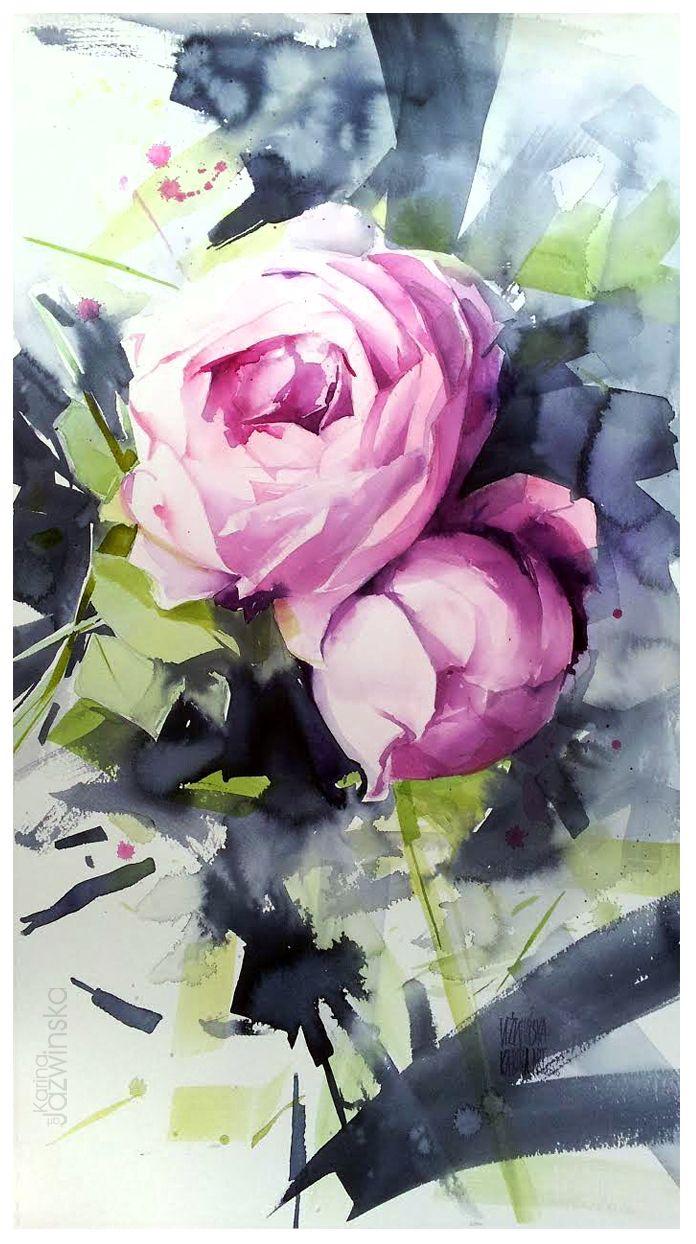 Karina Jaźwińska/ Watercolour 2017/ Kiss from a rose/ size: 73x40cm/ Saunders 300g/ QOR