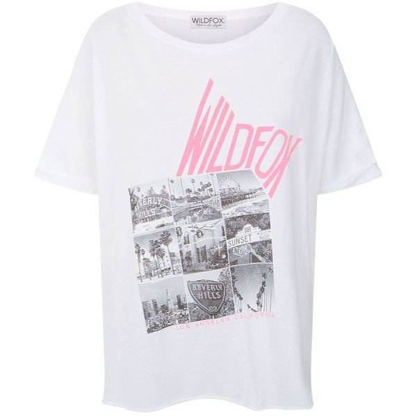 Wildfox Kate Photo T-Shirt (1,660 MXN) via Polyvore featuring tops, t-shirts, cotton t shirts, cut-out crop tops, cropped tops, oversized tops y batwing t shirt