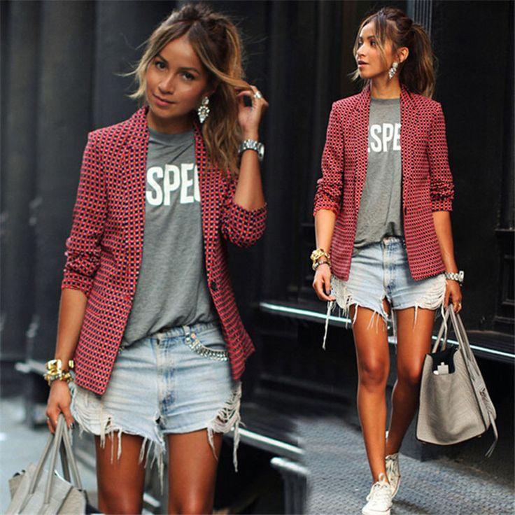 <3 Women Blazer Plaid Jacket Full Sleeve Single Breasted Notched Slim Suit Jacket Blazer <3  Price: $13.51 Size : S, M, L, XL, XXL
