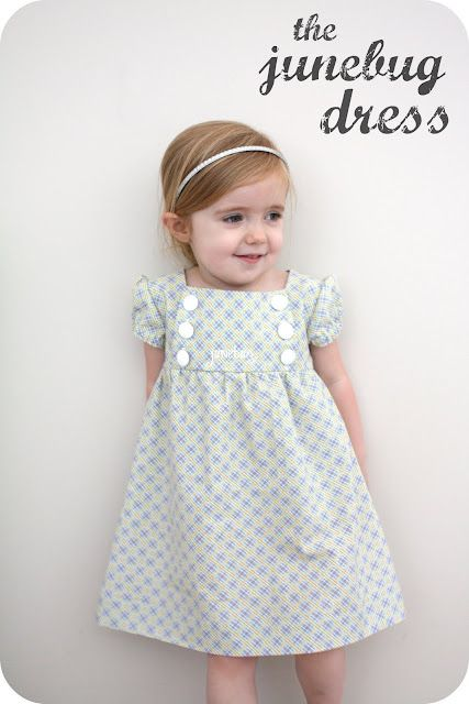 Free Downloadable 2T pattern for this dress or a tutorial on how to size this to fit your child.  So cute