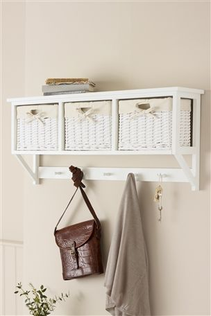 White Wicker Wall Cubby from Next