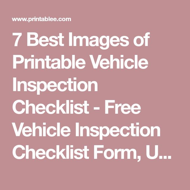 Best Van Check List Images On   Checklist Template