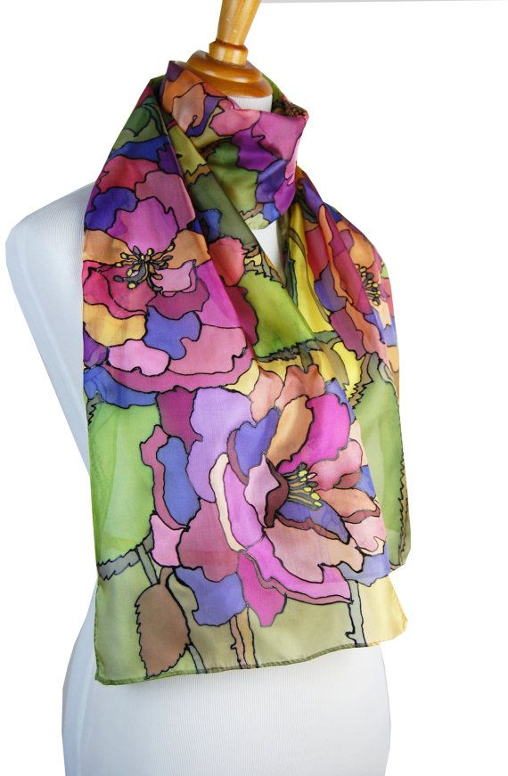China Roses in Fall Colors Silk Scarf 14 x 65 by FineArtSilk