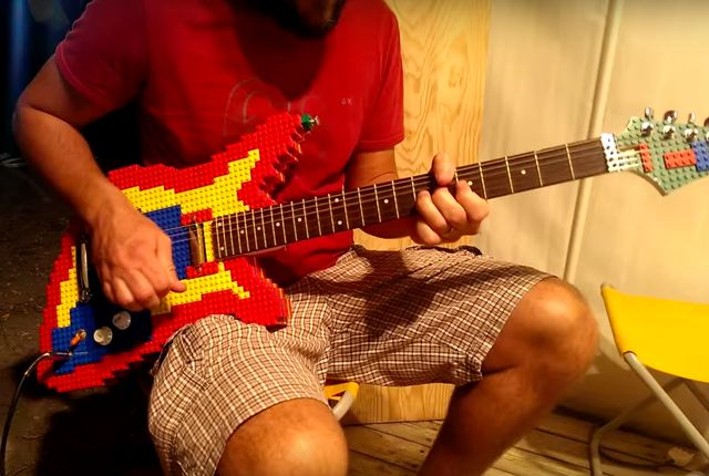 It may look like a toy, but this LEGO guitar sounds like the real thing. - Someone Built a LEGO Guitar You Can Actually Play | Mental Floss