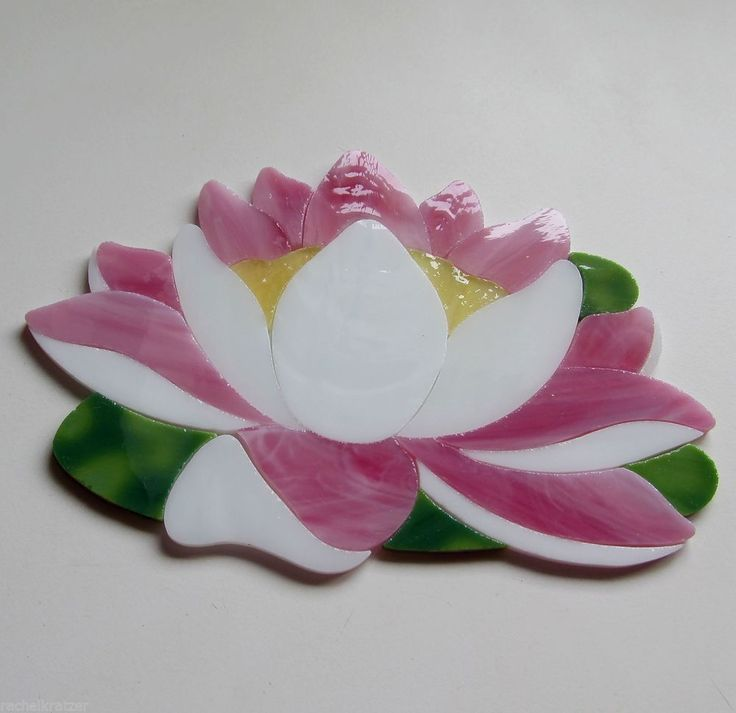 LOTUS WATERLILY Precut Stained Glass Kit Mosaic Inlay Garden Koi Fish Pond Stone. Many original designs selling on ebay.