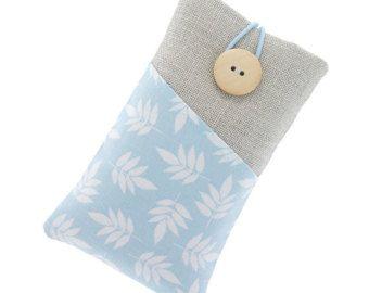 Bolsa acolchoada em linho e algodão para iPhone 5 / iPhone 4