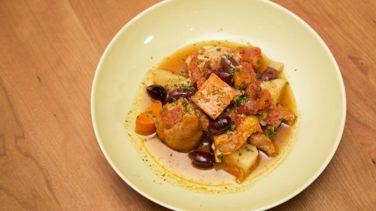 Poulet mijoté à la portugaise, légumes et pommes de terre