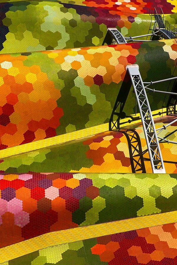 Renovated Santa Caterina Market by Enric Miralles in #Barcelona, Spain I Mosaic Art I Coloured Tiles