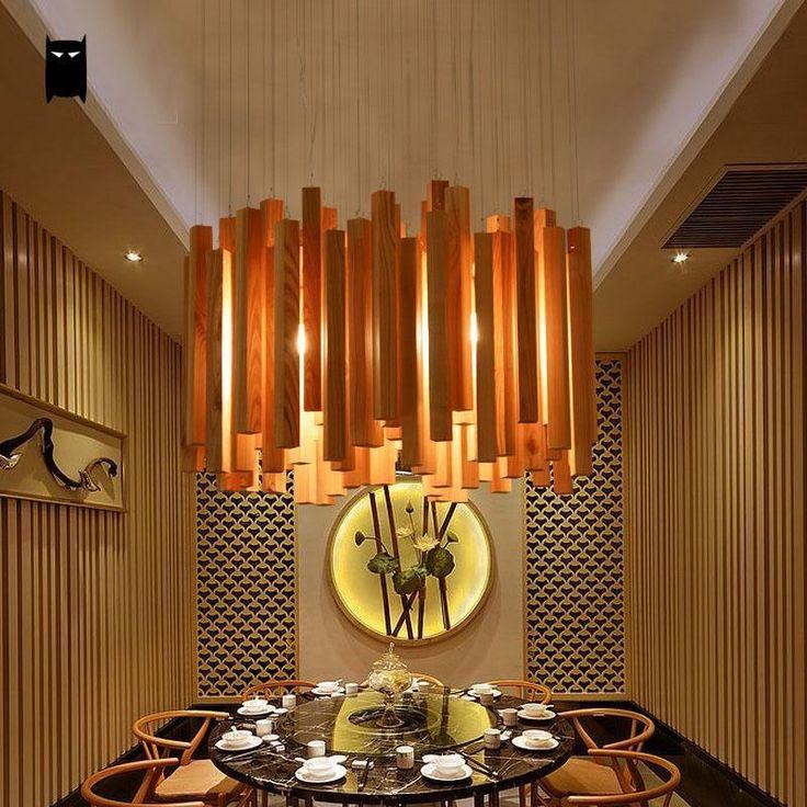 Oak Wood Droplight Chandelier Fixture Nordic Lighting Design Dining Table Room Soleilchat