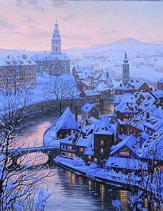 """Winter """"Twilight in Cesky Krumlov"""" with www.prague.today #czech #czechia #travel #traveling"""
