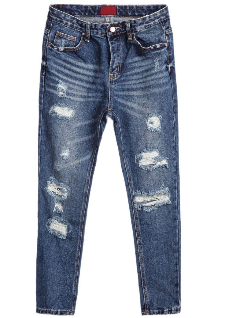 Navy Ripped Pockets Denim Pants 21.83