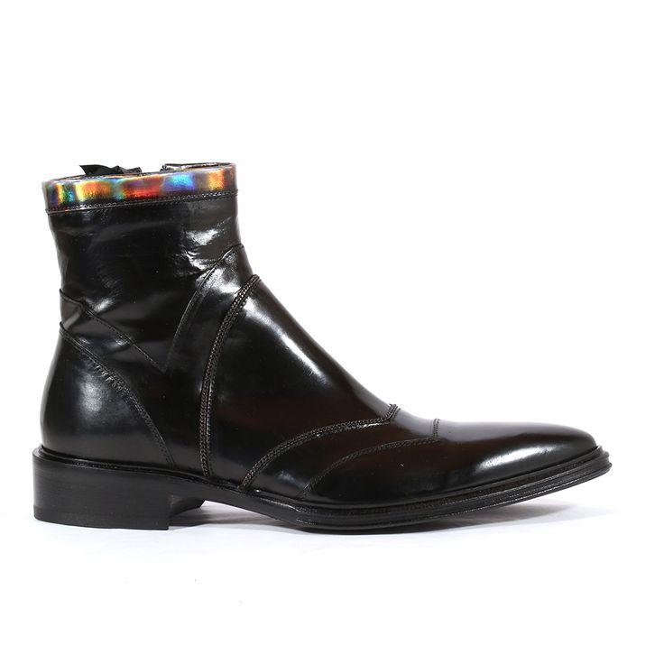 Jo Ghost Italian Mens Shoes Montalcino Nero Specchio Laser Canna di Fucile Black / Silver Leather Boots (JG2107)