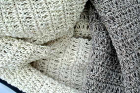 This listing is for a Handmade Naturel and Grey Colored Wool Crochet Scarf.  Its made out of 100% eco-friendly traditional Romanian sheep wool.