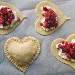 Strawberries, sugar, cream cheese, and pie dough!
