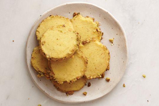 Saffron & Pistachio Shortbread Cookies