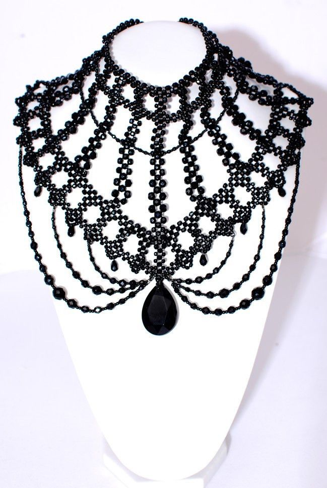 beautiful black beaded choker <3