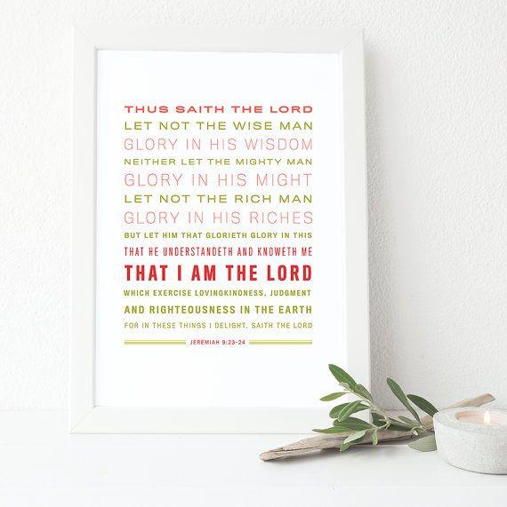 Bible Verse Art  Jeremiah 9:23-24 King James Verstion