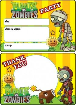 plants vs zombies printable party invitations and thank you letter