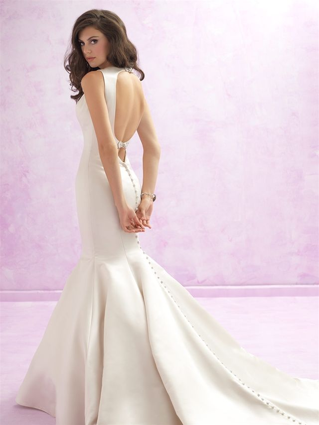MJ103-Madison James  For a striking focal point, look no further than this satin gown's double keyhole back ��� complete with playful jeweled bows. Colors:White/Silver, Ivory/Silver, Cafe/Silver Fabrics:Satin