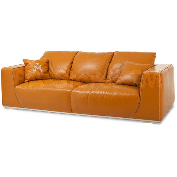Mia Bella Sophia Leather Mansion Sofa Tangerine By Michael Amini (4u0027320 CHF)