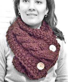 #Cuello de #lana color #marrón, tejido en dos #agujas