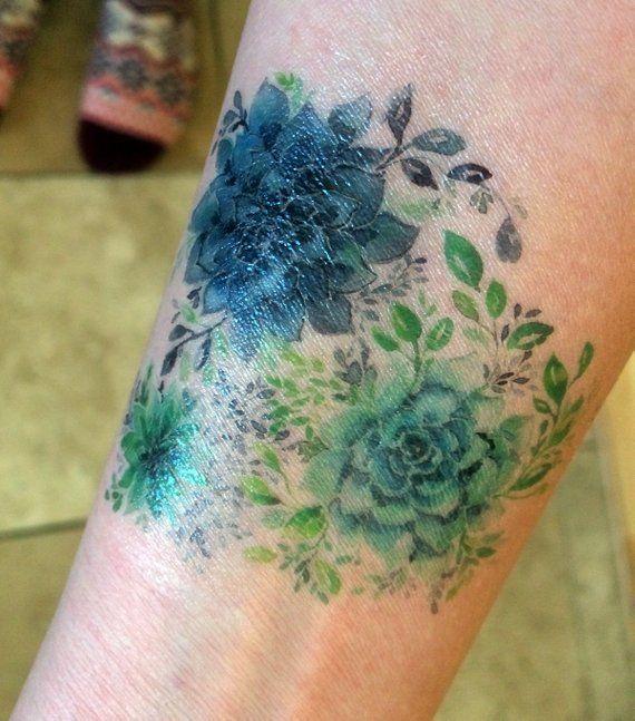 Temporary Tattoo Succulent Trio Green Botanical Desert Cactus