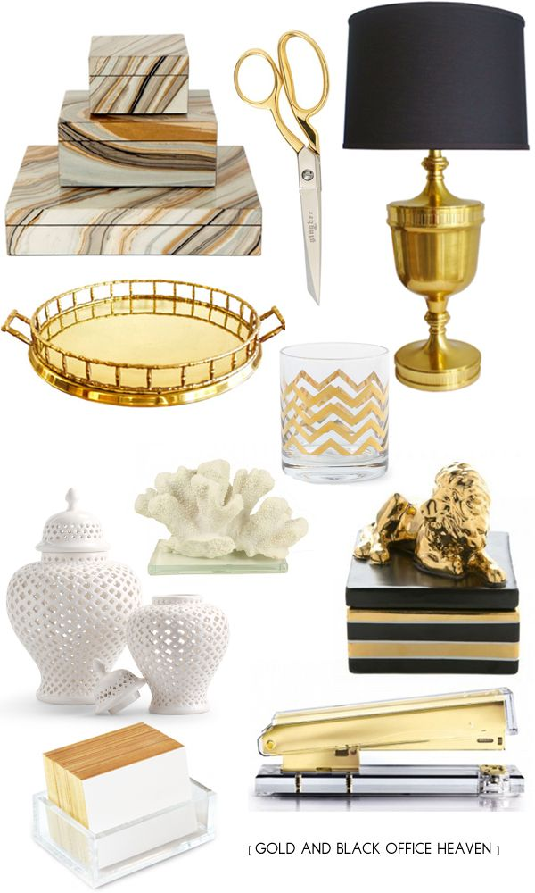 Gold black office supplies liao a ff e pinterest for House decor accessories