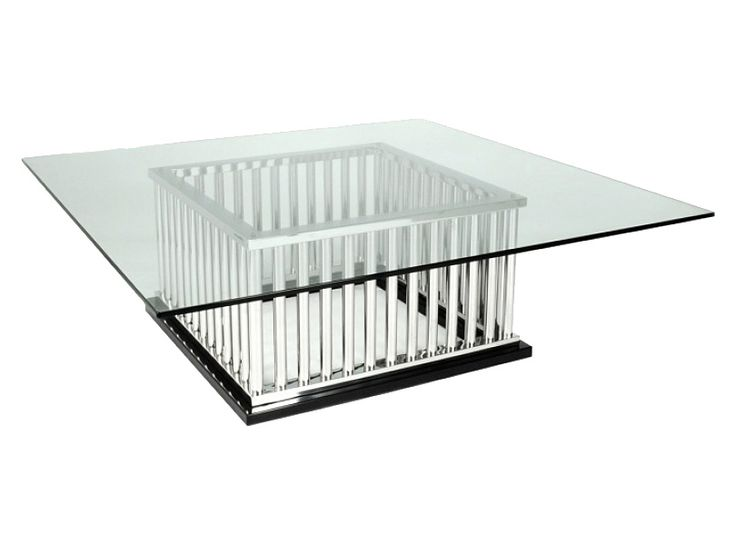 MILAN Coffee Table Polished Stainless Steel With Glass Top 1200sq X 420 Mm  H Www.
