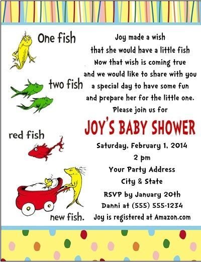 Dr. Seuss Baby Shower One Fish Party Invitations Custom Personalized