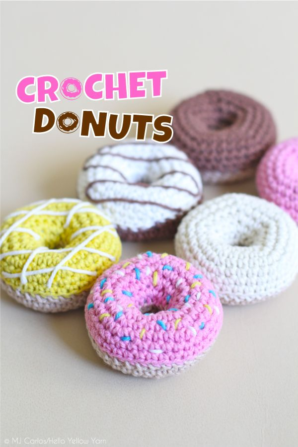Crochet Donuts. Free crochet pattern and video tutorial on Hello Yellow Yarn.