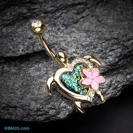 Golden Hawaiian Flower Turtle Opal Sparkle Belly Button Ring