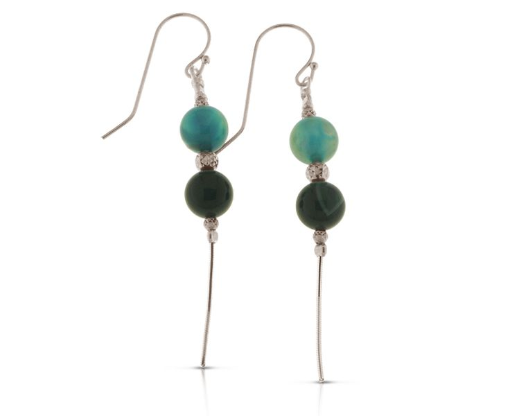 Ornate 925 Sterling Silver Dangly Earrings decorated with Green Agate