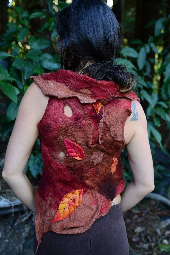 Felt Fairy Pixie Melted Leaf Autumn Vest Top OOAK by frixiegirl, $172.00