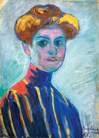 Kernstok Károly (1873-1940) Színes Leányfej, 1909 körül Olaj, lemezpapír, 48x35 cm