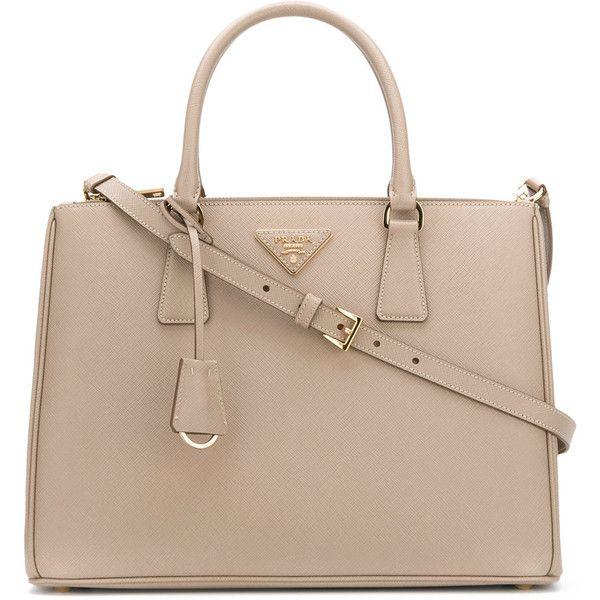 Prada Medium Galleria tote bag ($2,390) ❤ liked on Polyvore featuring bags, handbags, tote bags, prada tote, logo tote bags, nude purses, prada purses and purse tote