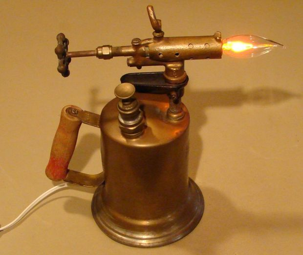 Picture of Antique Brass Blow Torch Accent Lamp