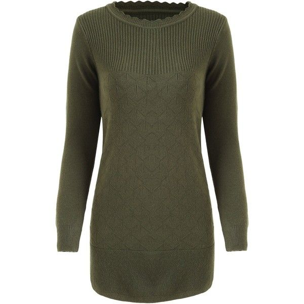 Army Green ONE SIZE Crew Neck Ribbed Tunic Sweater ($12) ❤ liked on Polyvore featuring tops, sweaters, ribbed crew neck sweater, crew-neck sweaters, ribbed top, army green top and crew neck tops