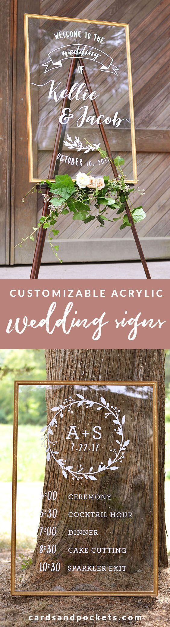 Acrylic wedding signs - the perfect DIY wedding decor for your ceremony and reception. Acrylic is a light, budget-friendly option that has the elegant look of a mirror sign. Personalize your own welcome sign, timeline or bible verse sign at: http://www.cardsandpockets.com/custom-acrylic-wedding-signs.aspx