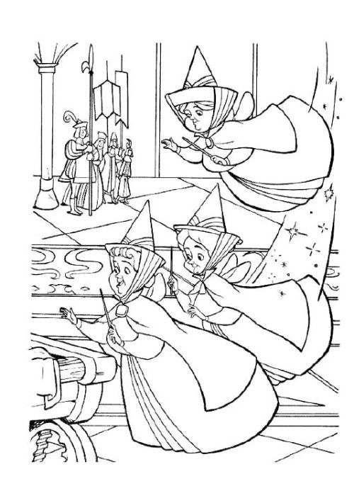 three fairy old coloring pages