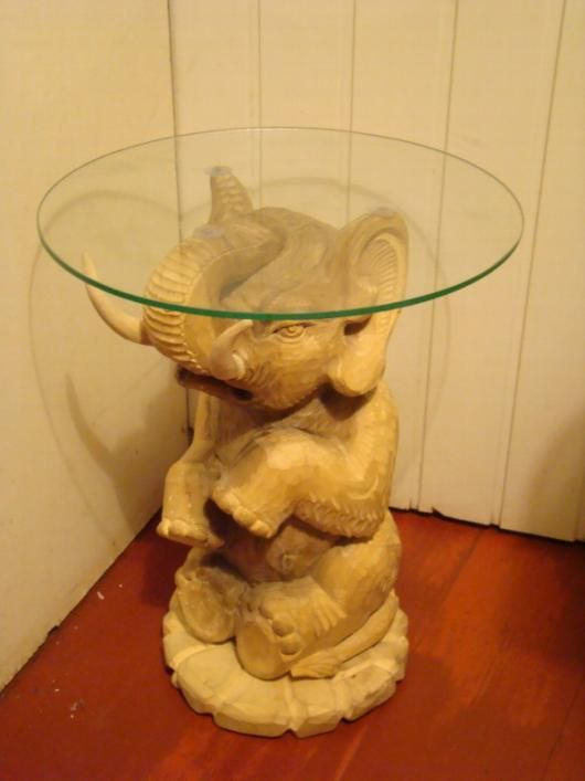 Elephant Sculpture Base Wood And Glass Coffee Table