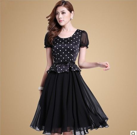 New 2014 autumn  summer summer OL chiffon polka dot dress was thin large size women's luxury dress printing dot dress-in Dresses from Appare...