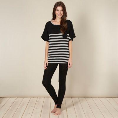 Designer black stripe fleck pyjama set, size 10 at debenhams.com