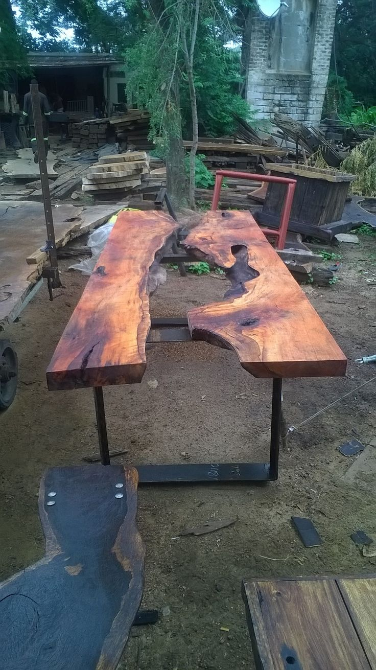 sand teak exotic wood table with steel square loop legs