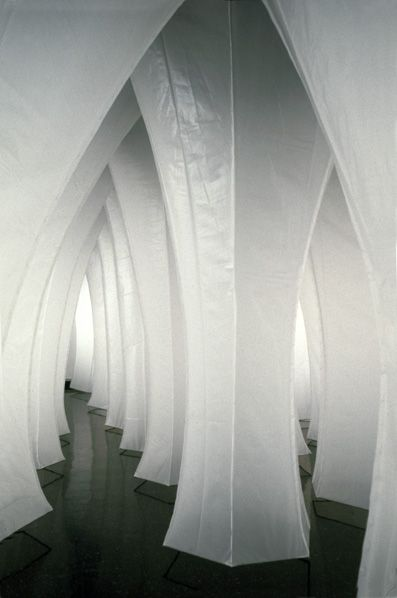 Kendall Buster, Subterrain (White Column Field), 2000, pvc plastic, steel